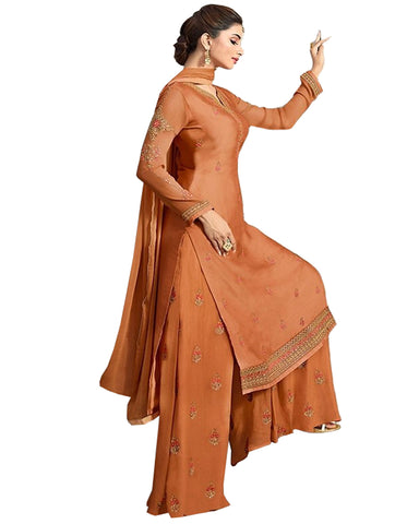 Ideal Brown Colored Partywear Embroidered Georgette Palazzo Suit
