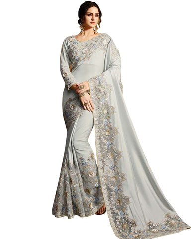 Desirable Grey Colored Designer Embroidered Work Party Wear Satin Chino Saree
