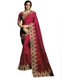 Desirable Maroon Colored Designer Embroidered Work Party Wear Silk Saree
