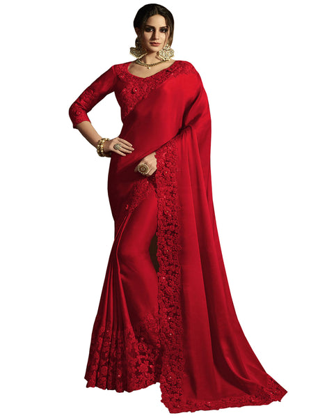 Desirable Red Colored Designer Embroidered Work Party Wear Satin Chino Saree