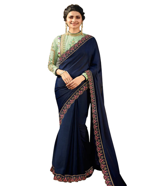 Desirable Blue Colored Designer Embroidered Work Party Wear Satin Chino Saree