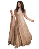 Peach anarkali suit in resham and kundan