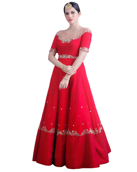 Rose Red Anarkali Heavy Silk Gown