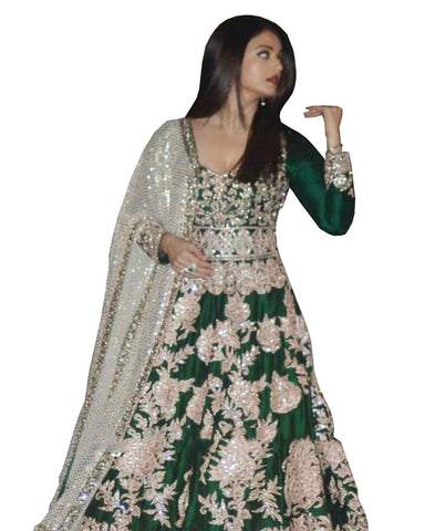 Bollywood green Color Aiswarya Heavy Anarkali Gown