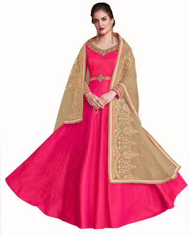 Pink & Gold Colored Partywear Embroidered Soft Silk Gown