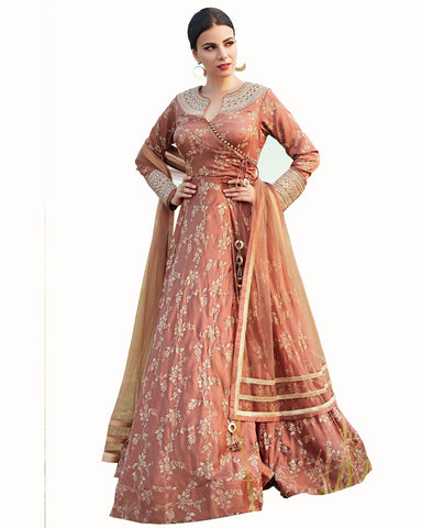 Party Wear Copper Color Taffta Silk gawn