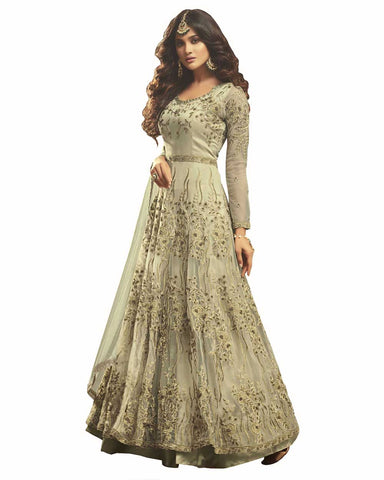 Demanding Light Green Colored Partywear Embroidered Soft Net Gown