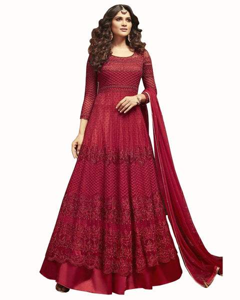 Demanding Maroon Colored Partywear Embroidered Soft Net Gown