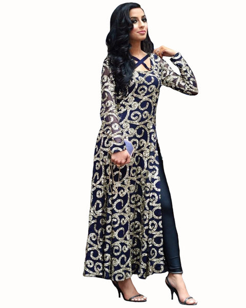 Demanding Blue Colored Partywear Embroidered Net Long Suit