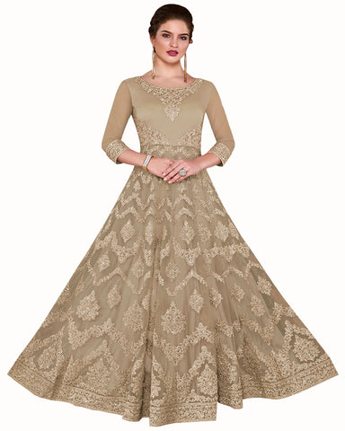 Light Brown Anarkali Style Party Wear Dress