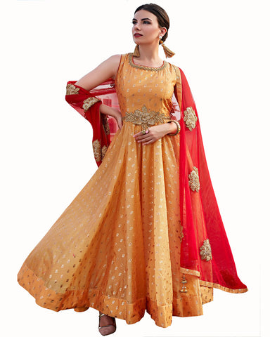 Demanding Orange & Red Colored Partywear Embroidered Soft Silk Gown