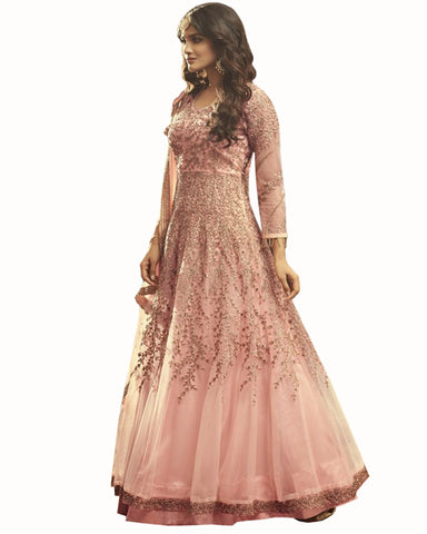 Demanding Light Pink Colored Partywear Embroidered Soft Net Gown