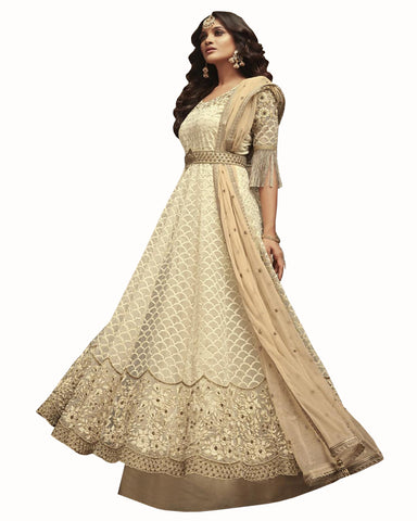 Demanding Cream Colored Partywear Embroidered Soft Net Gown