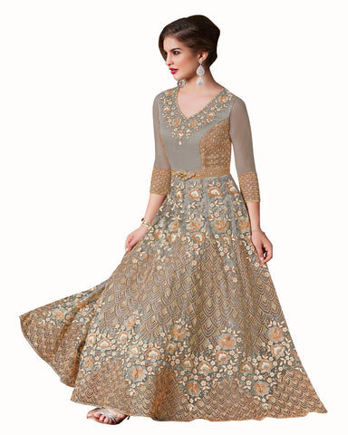 Grey Colored Partywear Embroidered Soft Net Gown