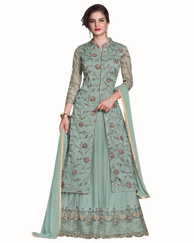 Light Grey Colored Partywear Embroidered Soft Silk Gown