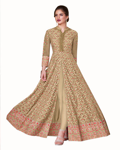 Demanding Gold Colored Partywear Embroidered Soft Silk Gown