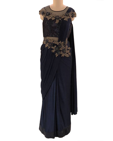 Navy Blue Colored Designer Embroidered Chiffon Saree
