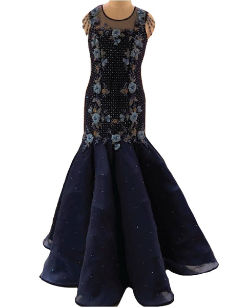 Navy Blue Designer Embroidered Tissue Net Gown