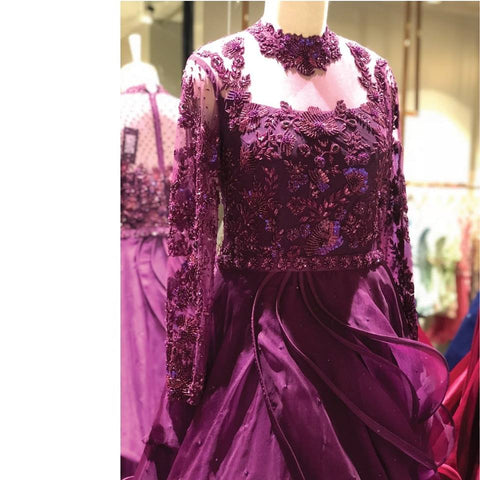 Purple Designer Embroidered Tissue Net Gown