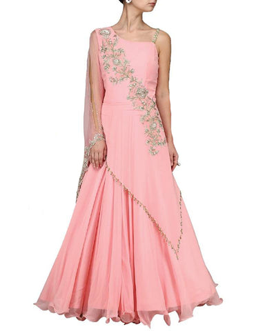 Pink Designer Embroidered Chiffon Gown