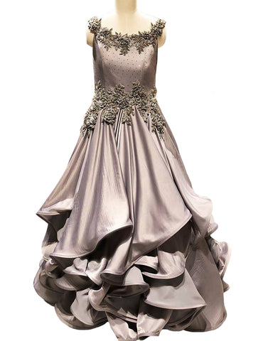 Grey Designer Embroidered Taffeta Gown
