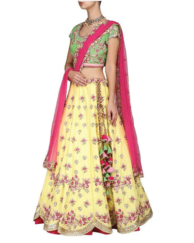 Yellow and Pink Color Emoridery Lehenga