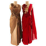 Copper Or Red Colored Designer Embroidered Satin Saree