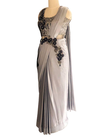 Grey Colored Designer Embroidered Satin Saree