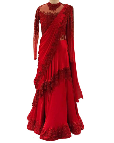Red Color Chiffon Cirle designer Lehenga
