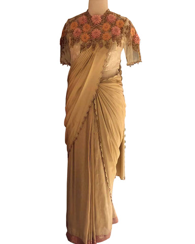 Gold Colored Designer Embroidered Chiffon Saree