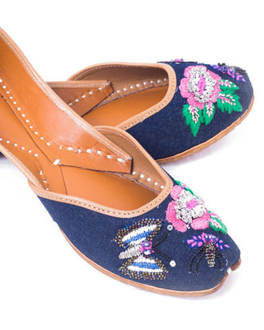 Denim Blue Designer Butterfly Jutti