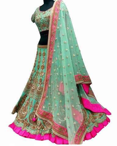 Sea Green Color wedding Lehenga Choli
