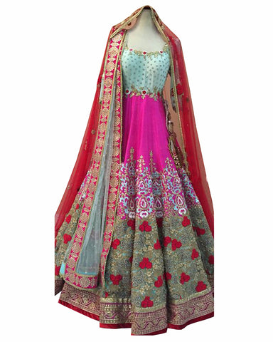 Sky & Pink Color Designer Party wear Long Gown
