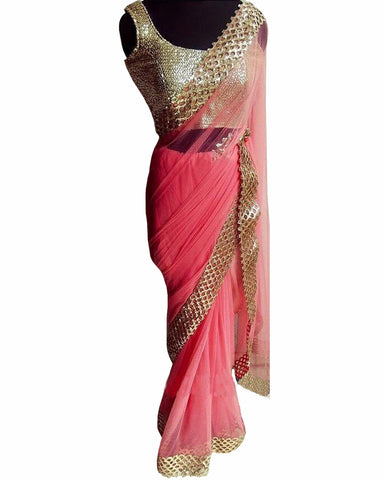 Designer Pink-Gold Color Saree