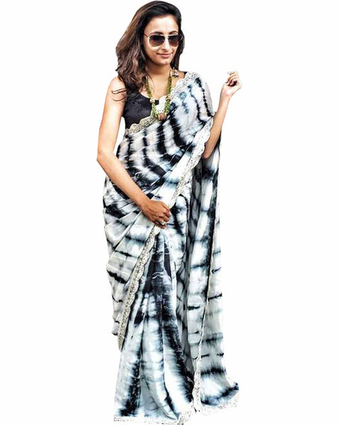 Black Color Tie & Dye Saree