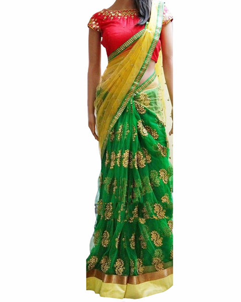 Designer Green Color Saree