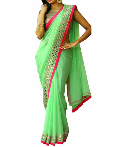 Designer Party Wear Sea Green Color Georgette Saree