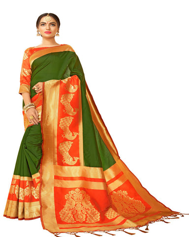 Kanchivaram Green And red Saree In Designer Silk
