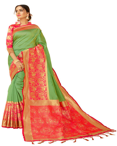 Green And Pink Kanchivaram Silk Saree