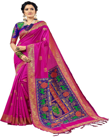 Kanchivaram Silk Pink With Blue Colour Blouse Saree