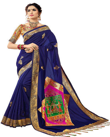 Kanchivaram Silk Blue Colour With Gold Jacquard Blouse Saree