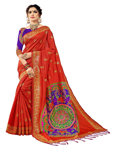 Kanchivaram Silk Saree In Orange Colour With Blue Brocade Blouse
