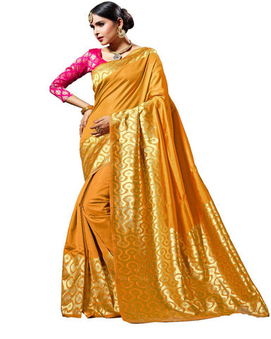 Kanchivaram Golden Saree In Designer Silk