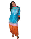 Kareena Turquoise And Orange Embroidered Patial salwar Suit