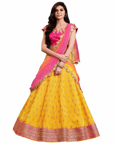 Art Silk Yellow and Pink Heavy Work Lehenga