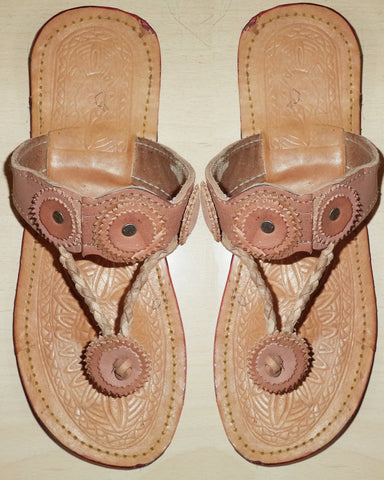 Designer Brown Leather Chappal