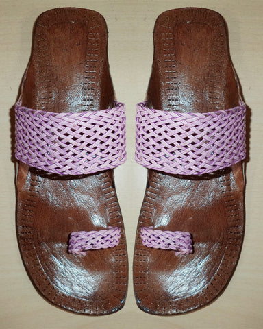 Purple Color Woven Style Chappal