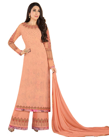 Marvelous Peach Colored Partywear Embroidered Georgette Palazzo Suit