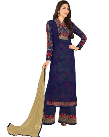 Sky Blue Colored Partywear Embroidered Georgette Palazzo Suit