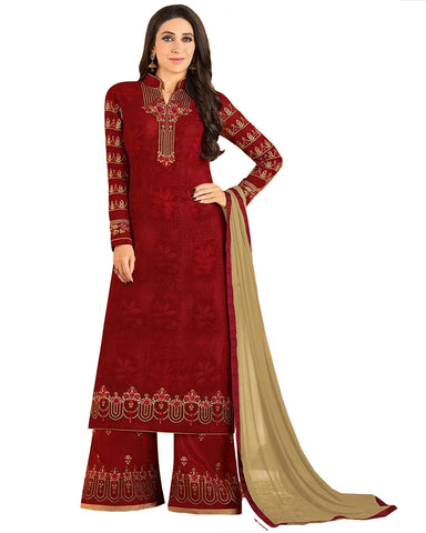 Red Colored Partywear Embroidered Georgette Palazzo Suit